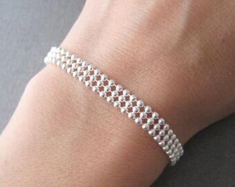 Bracelet beads 3 strands Silver 925/1000