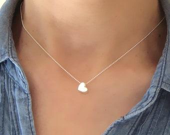 Necklace fine Silver 925/1000th 3D heart pendant