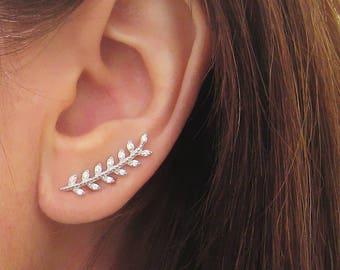 Earrings bay leaf ear-cuffs contours of silver zirconium lobes 925/1000