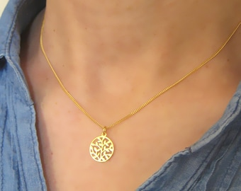 Necklace fine tree of life pattern vegetable 925 sterling gold filled