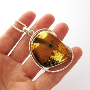 Genuine Silver 9251000th Baltic Sea amber large necklace