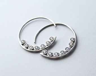 Modern open hoops with zirconium 925/1000 Silver CZ