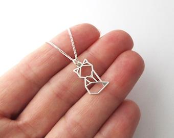 Minimalist necklace pendant origami silver origami 925/1000th