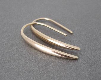 Gold line through 750 18 k earrings