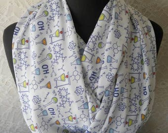 Science Scarf Chemistry Infinity Scarf Science Teacher Gift Nerd Geek Gift for Her Chemistry Gifts