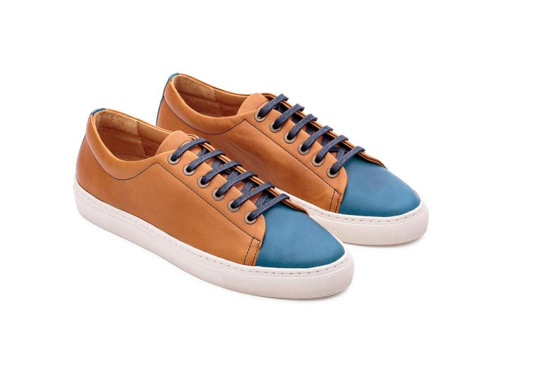 9e51d9da8ee8a 80s Sneakers Leather Shoes Blue and Camel Custom Shoes Vintage Gift For  Women Tennis Women Shoes Casual Shoes 90s Leather Shoes