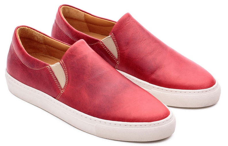 0b0df0244ae23 Organic Red Sneakers Custom Shoes Leather Hide
