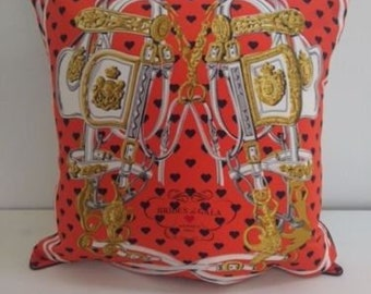"""HERMES Limited Edition """"Bride de Gala LOVE"""" Scarf Pillow for Valentines Day"""