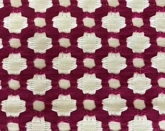 """Schumacher """"Betwixt"""" Fabric Yardage in Color """"Magenta""""/Natural"""""""