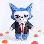 Cameron at the Office- Illustrated cat doll - Soft Minky plush stuffed animal -free shipping USA