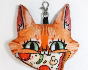 Cat and Pizza Keychain Plush Charm with lobster clasp - Bobby the Tabby loves pizza - soft stuffed animal head on a clip - free shipping USA