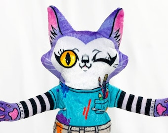 Bertie is an Artist - Handmade Cat - plush stuffed animal doll - super soft with vibrant colours - purple cat with sketchbook and cellphone