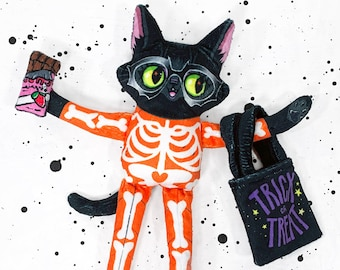 Cat Doll - Trixie's Halloween Night - Super cute and soft plush doll with vibrant colours - Includes treat bag and play chocolate bar