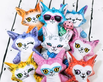 Set of Nine Cat Plush Toys - Big set of cute plush dolls in bright colours - Made from super soft fabric