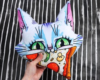 Big Cat Face with Pizza Pillow - Decor for kids room - Colourful cat