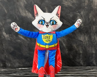 Super Hero Cat Doll - Parker as Super Cat - Plush comic superhero doll