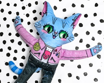 Ronnie the Wildcat - Super soft cat plush doll with vibrant colours- Punk patches, pins and pink jacket