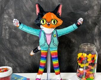 Cat doll - Matilda the Wildcat goes to school -  handmade super soft plush fabric toy