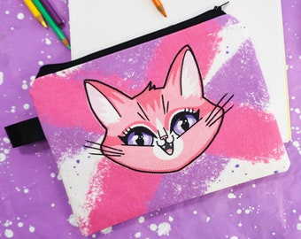 Pencil Pouch - Keep Out Please - Slim case for all your little treasures and art supplies - Pink