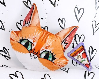 Big Cat Face with Pizza Pillow with small plush pizza slice - removable charm keychain -Tabby cat