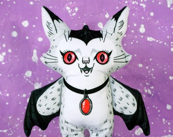 Jumbo sized Val the Vampire Cat Doll - A two sided soft plush doll made from fuzzy fabric