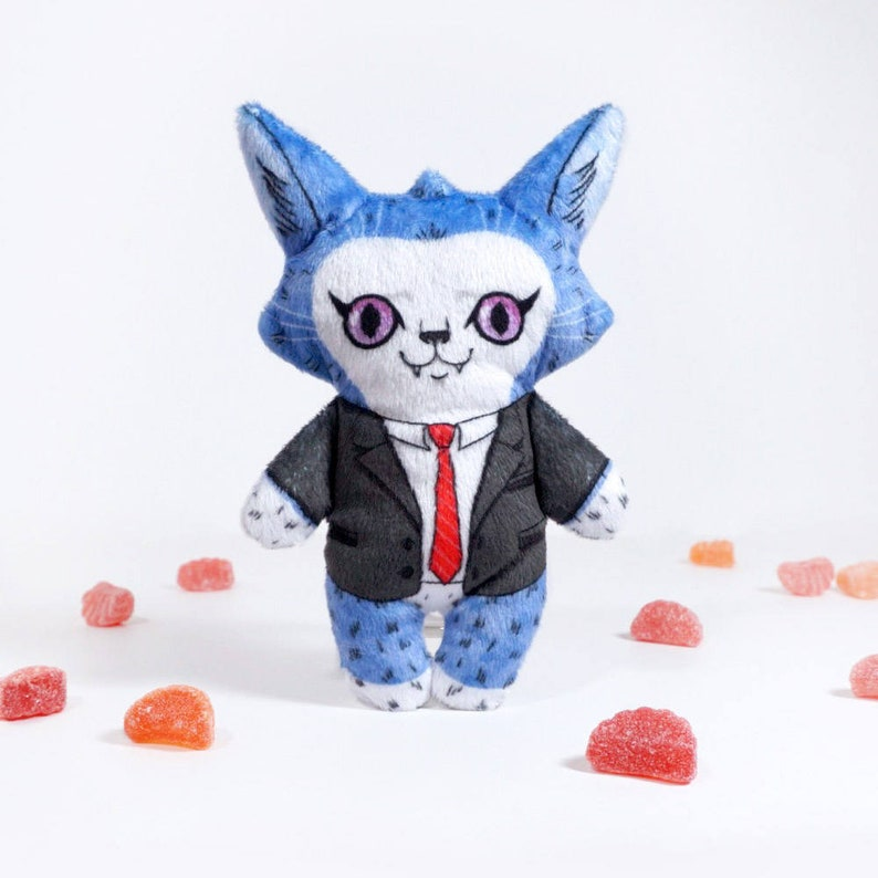 Cameron at the Office Illustrated cat doll  Soft Minky plush image 0