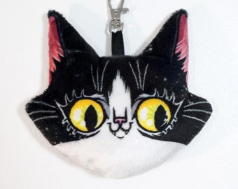 Cat Keychain Plush Charm with lobster clasp - Tyler the Tuxie soft stuffed animal head on a clip