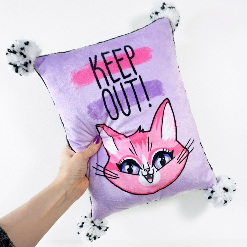 Keep Out  kids room pillow with pompoms  super soft minky image 0