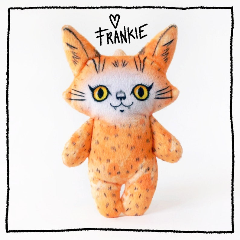 Frankie on Friday  Super Soft cat plush doll  orange fur image 0