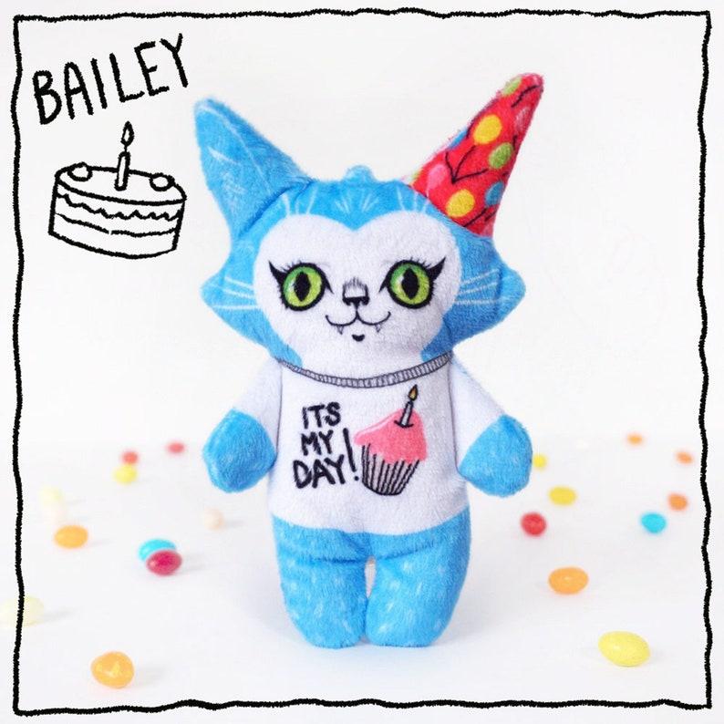 Birthday Bailey the cat Super soft fabric stuffed animal doll image 0