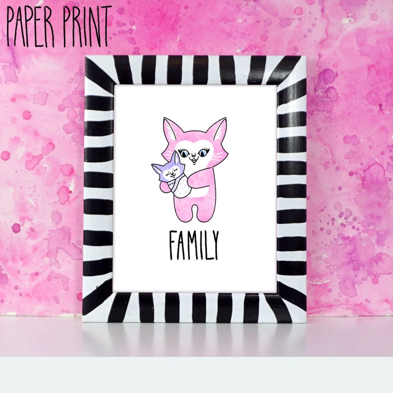 Parent and Child Cat  Printed art for nursery or kid's image 0