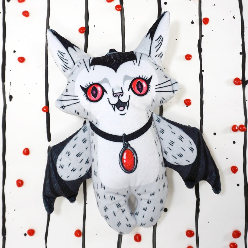 Jumbo sized Val the Vampire Cat Doll  A two sided soft plush image 0