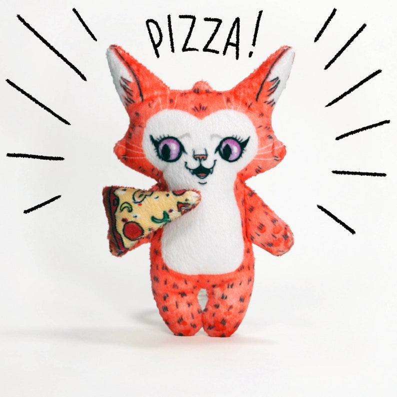 Pizza Cat Sam  Super Soft Minky plush doll with tiny pizza image 0