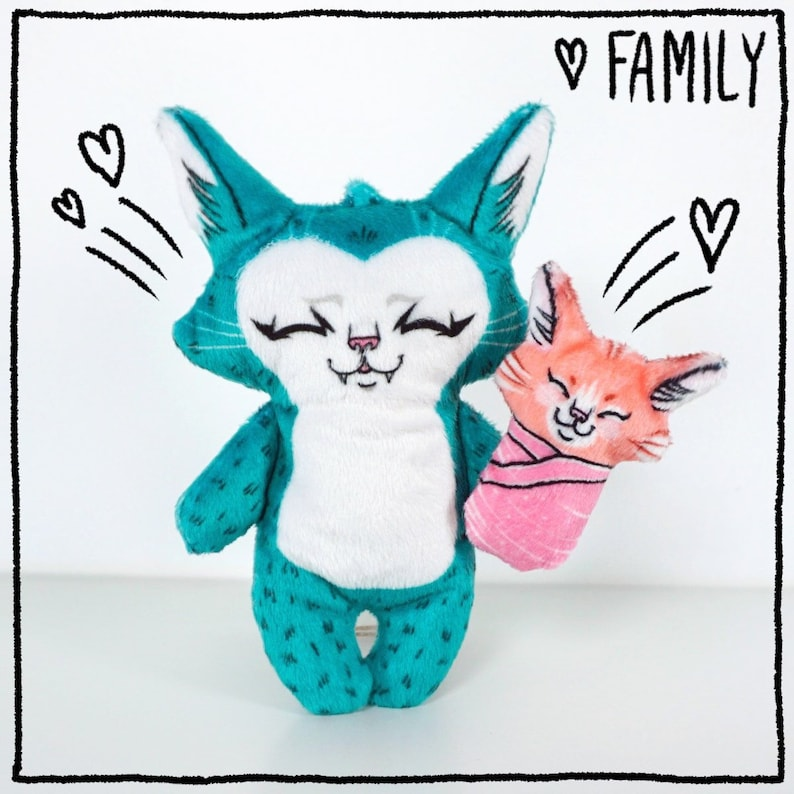 Parent and Child cat doll  Super soft Minky cat doll plush Orange