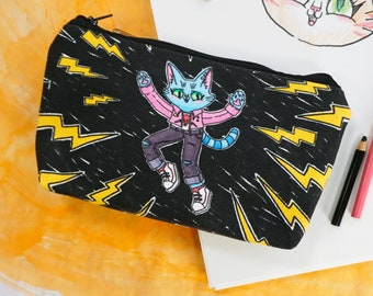 Pencil Pouch - Wild Cat - Denim case for all your little treasures and art supplies - Blue