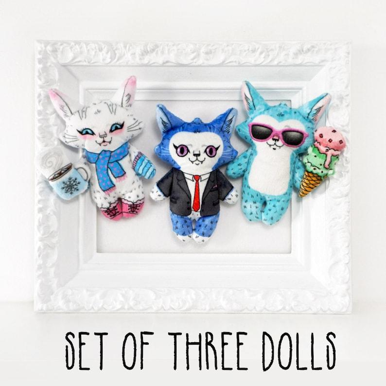 Set of three cat dolls  Summer Cat  Winter cat  Work cat image 0