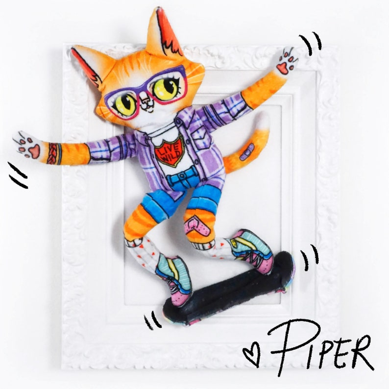Skateboarding Cat Doll  Piper the Skater Cat  Super cute and image 0