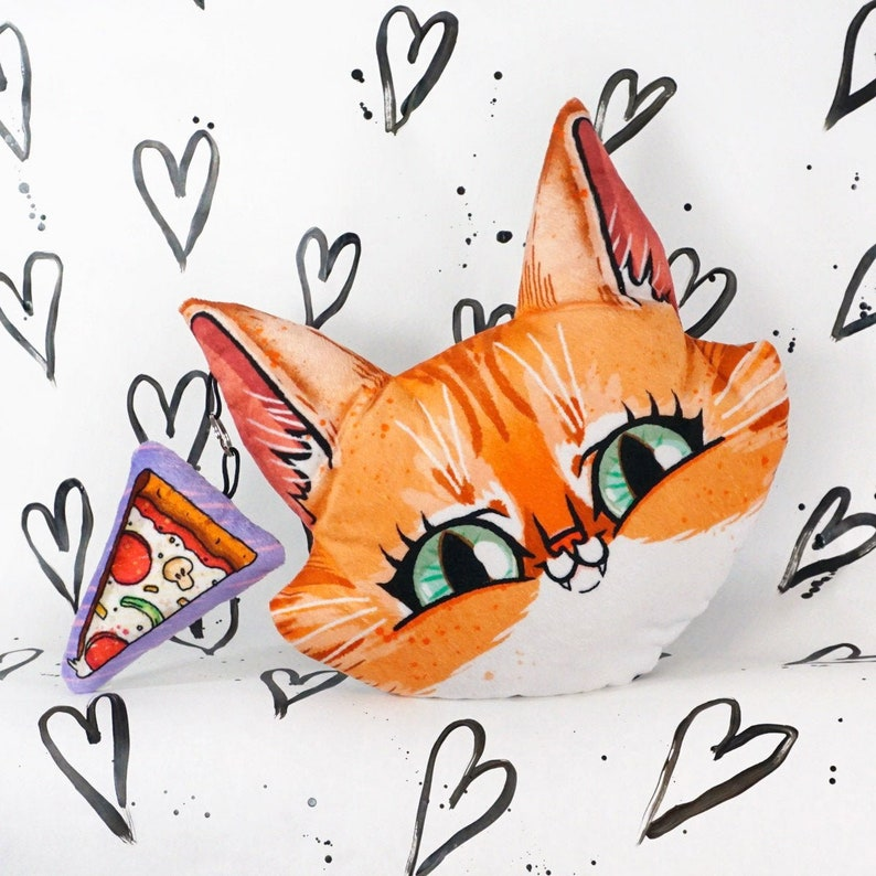Big Cat Face with Pizza Pillow   small plush slice attached image 0