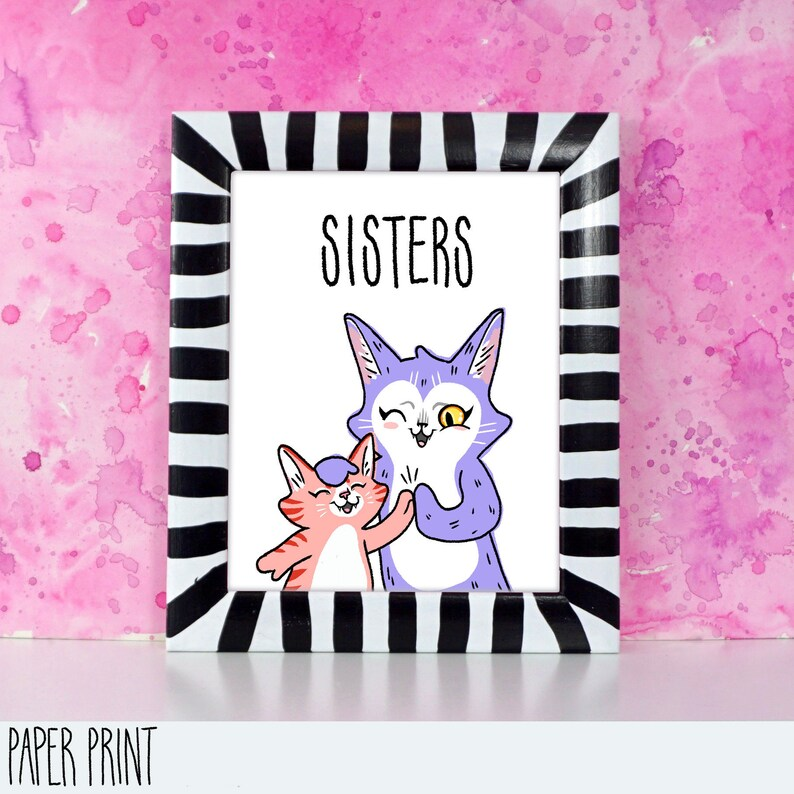 Sisters  Cat big sis and little sis  Printed art for image 0
