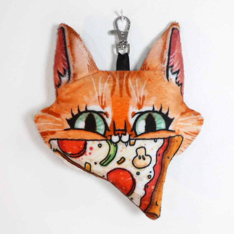 Cat and Pizza Keychain Plush Charm with lobster clasp  Bobby image 0
