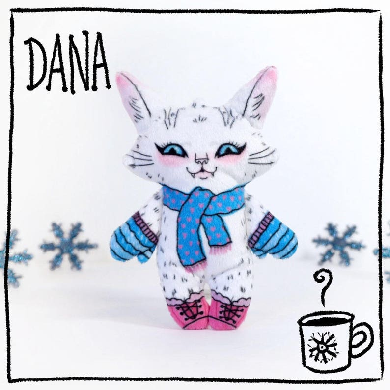 Dana the Winter Cat   Super soft tiny plush cat doll wearing image 0