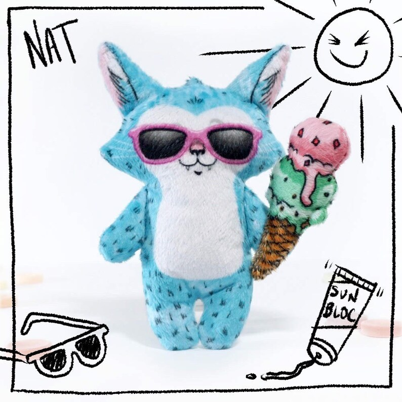 Nat in Summer  Soft cat doll plush toy with ice cream cone image 0