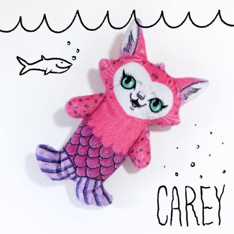 Carey the Mermaid Cat  Super Soft Minky fabric plush doll  image 0