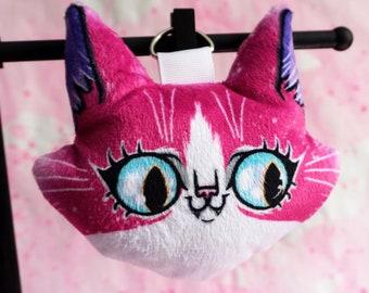 Cat Plush Charm - soft stuffed animal head bag or keychain accessory
