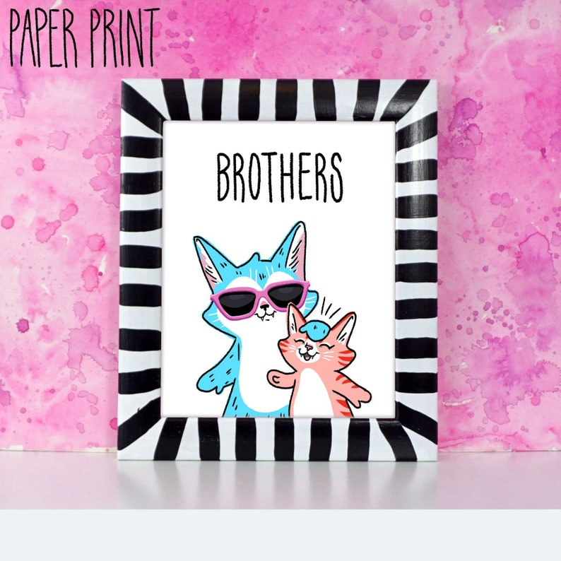 Brothers  Cat big bro and little bro printed art for image 0
