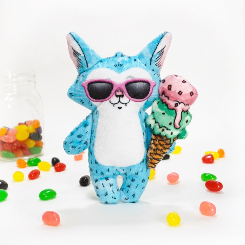 Cat plush toy with sunglasses and ice cream cone  Nat in image 0