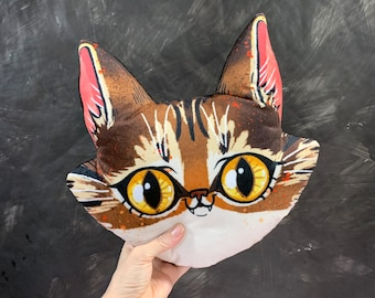 Big Brown Tabby Cat Face Pillow Plush - A super soft and super cute little pillow featuring custom printed illustration of tabby cat