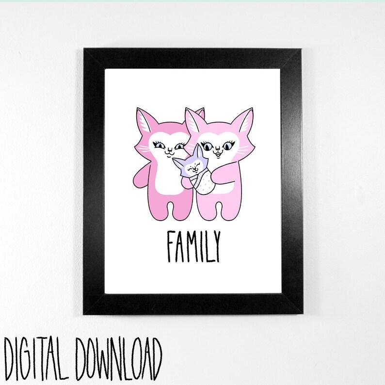 Cat Family  Digital Download printable art for nursery or image 0