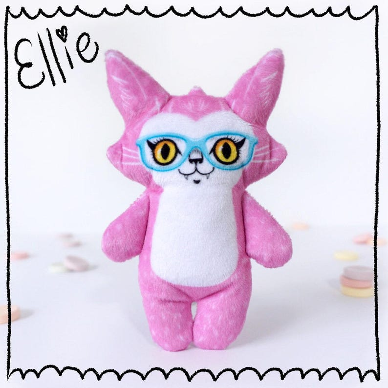 Ellie and her New Glasses  Super soft cat doll plush made image 0