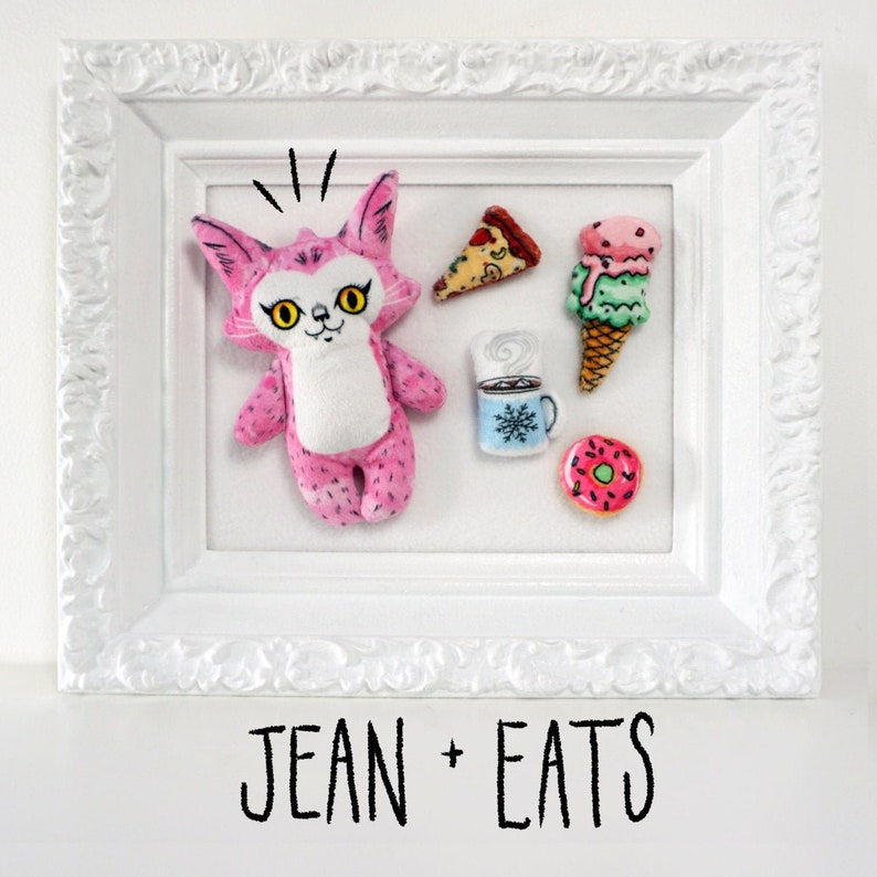 Jean with Eats  handmade pink cat plush doll with play food image 0